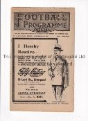 LIVERPOOL V BURNLEY / EVERTON RES. V BURY RES. 1926 Joint issue programme 27/12/1926, staple