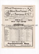 ARSENAL Programme for the away League match v West Ham United 28/2/1931, ex-binder, white issue.