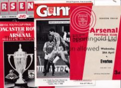 ARSENAL / FA YOUTH CUP FINALS Twelve programmes. Both legs for 1965 v Everton, home has team changes