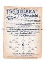 NEUTRAL AT CHELSEA 1909 Single sheet programme for the Army Cup match, 2nd Bat. Coldstream Guards