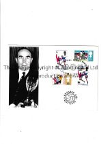 1966 WORLD CUP First Day Cover card with a picture of Sir Alf Ramsey holding the trophy and 4