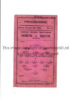 NORTH V SOUTH AT BLACKPOOL 1933 A single card for the Amateur counties match at Bloomfield Road