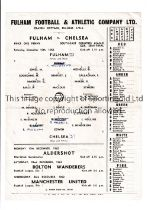CHELSEA Single sheet programme for the away SECLC S-F v Fulham 15/12/1962, slightly creased, team