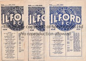 ILFORD FC Seven home programmes v Walthamstow 45/6 AC and 47/8 Essex Cup, Romford and Dulwich Hamlet