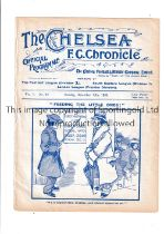 NEUTRAL AT CHELSEA 1909 Programme for The Church v The Stage 13/12/1909. Ex-binder. Generally good