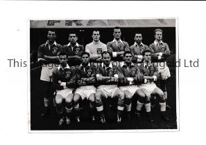 """WALES An original 9"""" X 6"""" Press team group taken before the match v England 22/10/1955 at Cardiff"""