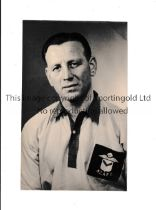 """NEWPORT COUNTY Original 5"""" X 3"""" b/w portrait of Billy Lucas in Newport shirt from the 1950's. Good"""