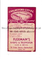 CHELMSFORD V CHARLTON ATHLETIC Programme for the game at Chelmsford. 30/9/1939. Slight marks.