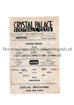 CRYSTAL PALACE V ARSENAL Single sheet for the game at Selhurst Park dated 31/10/42. Creased, tear