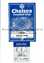 CHELSEA Home programme and ticket v Ipswich Town 21/4/1962 in Ipswich's Championship season.