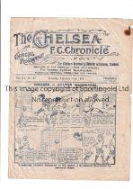 1919/20 CHELSEA V LEICESTER CITY Programme for the game at Stamford Bridge 21/2/20. Slight crease,
