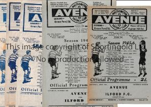 WALTHAMSTOW AVENUE V ILFORD Six programme for matches at Walthamstow 45/6, 46/7, 47/8 Lge, Essex Cup