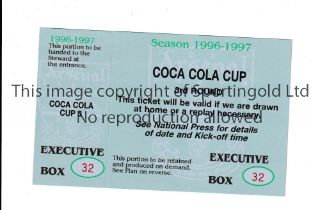 ARSENAL Unused Executive Box ticket for the Coca Cola Cup 3rd Round 1996/7. Very good