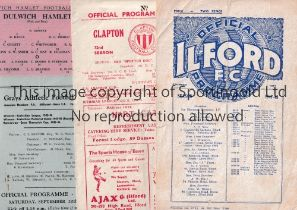 ILFORD FC Seven programmes including 2 homes v Kingstonian London Cup, punched holes and team