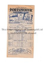 PORTSMOUTH V ARSENAL Programme for the game at Fratton Park, dated 21/4/48 in Arsenal's Championship