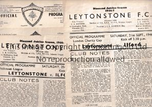 LEYTONSTONE V ILFORD Five programmes for matches at Leytonstone 46/7 Lge and London Cup, 47/8
