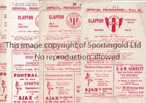 CLAPTON V ILFORD Four programmes for matches at Clapton 46/7 punched holes, 49/50, 50/1 Lge and