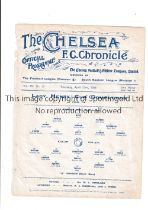 NEUTRAL AT CHELSEA 1914 Single sheet programme for the Lady Henry Cup Final, X Division v R Division