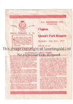 QUEEN'S PARK RANGERS Programme for the away FA Cup tie v Clapton 16/11/1957 played at Ilford F.C.,