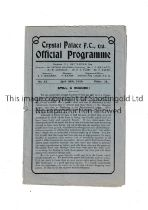 CRYSTAL PALACE V SOUTHEND UNITED 1929 Programme for the game at Palace dated 20/4/29. Tears near