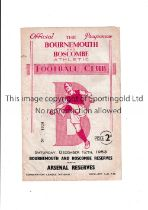 BOURNEMOUTH RESERVES V ARSENAL RESERVES Programme for the reserve game at Dean Court dated 12/12/53.