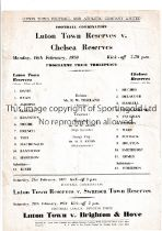 CHELSEA Single sheet programme for the away Football combination match v Luton Town 6/2/1970,