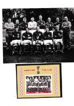 """ENGLAND 1966 WORLD CUP Original 8"""" X 6"""" Press team group photo with stamp on the reverse of the team"""