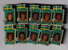 WORLD CUP 1994 USA Ten metal badges issued for the Tournament with player portraits. Very good