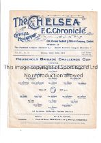 NEUTRAL AT CHELSEA 1914 Single sheet programme for the Household Brigade Cup S-F, 1st Bat. Grenadier