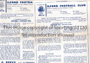 ILFORD F.C. Twenty one home programmes for season 1963/4. Most are very slightly creased and some