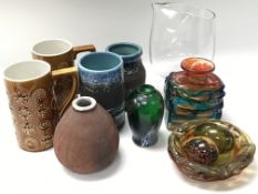 A collection of modern design ceramics and glass i