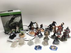 A box of Disney Infinity characters, Xbox Thrustma
