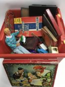 A box of vintage games and toys. NO RESERVE.