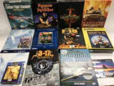 A collection of PC games, various flight simulator
