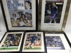 A collection of football prints, some signed, comp