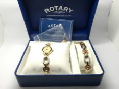 A boxed Rotary ladies watch and matching bracelet