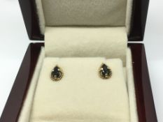 A pair of 9ct gold and sapphire earrings.