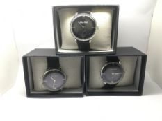Three boxed and as new gents Mars Walk watches.