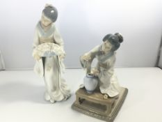 Two Lladro figures of ladies in traditional Japane