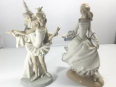 A Lladro figure of a ballerinas and one other danc