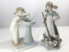 A Lladro figure a young girl the morning wash and