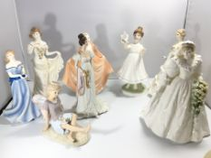 A collection of Worcester and Coalport figures. No
