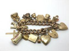 A 9ct gold charm bracelet with a rose gold bracele