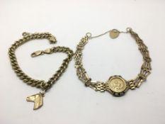 Two 9ct gold bracelets each depicting horses, appr