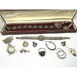 A collection of silver and marcasite jewellery.