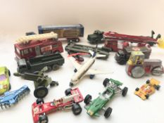 A collection of die cast play worn toys including