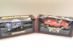 2 boxed Scalextric cars. A Motaworld Mini #C.393 a