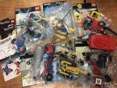 Six boxes of Lego and Mega Bloks consisting of Tec