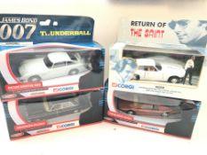 4 x boxed Corgi cars. A James Bond Mercedes Saloon # TY05702, a Lotus Esprint turbo #TY04702, a