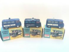 Three boxed Commer Police vans with flashing light